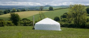 Large yurt sitting in private paddock with views across Dartmoor