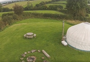 Drone flight over Devon Yurts