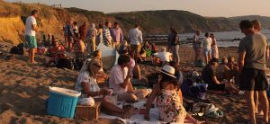 a summer's evening beach party on widemouth beach