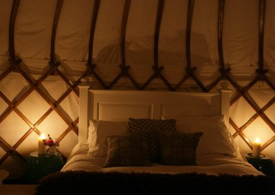 Romantic yurt by candlelight