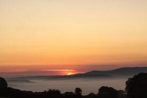 Sunset over Dartmoor countryside