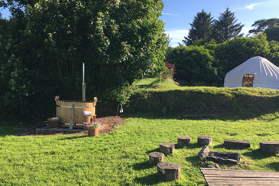 Yurt and hot tub for romantic glamping holidays