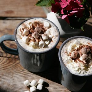 Hot chocolate for two with cream and marshmallows