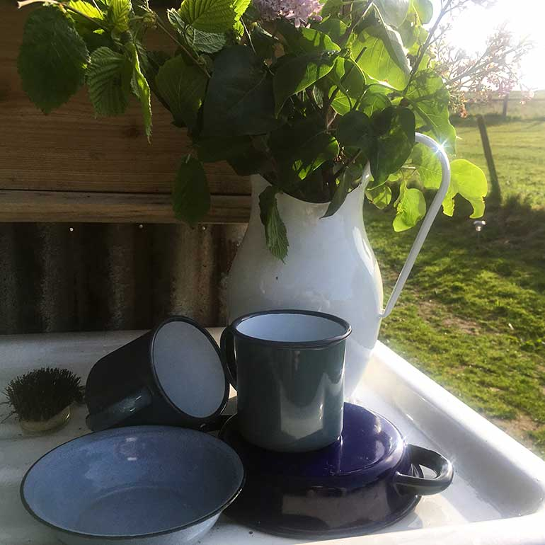 Outdoor washing up area with cups draining next to outdoor flowers in jug