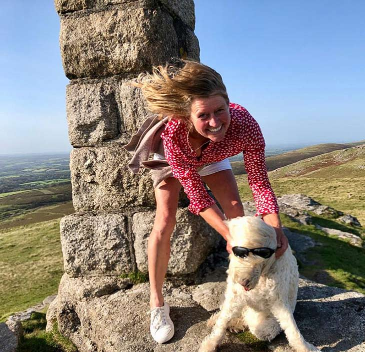 Julia and dog at Widgery Cross