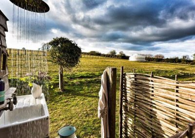Outdoor shower with a view