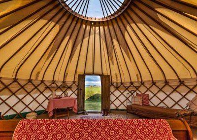 View through the door at Devon Yurt